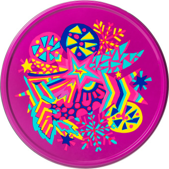 purple tin gift set with yellow swirling patterns