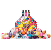 A huge gift set full of lush products with yellow orange and green patterns