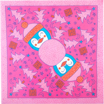 pink lokta paper with a penguin print on
