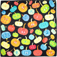 a black knot wrap with multicoloured pumpkins
