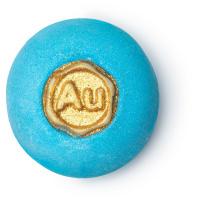 gold rush bomba de baño de color azul con el símbolo del oro