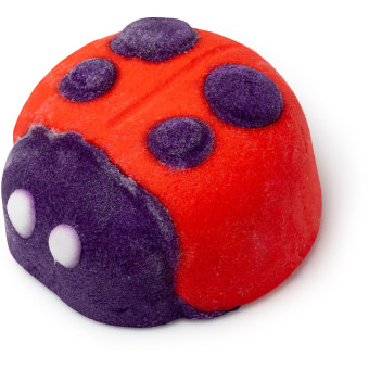 red ladybird shaped bubble bar with purple face and spots