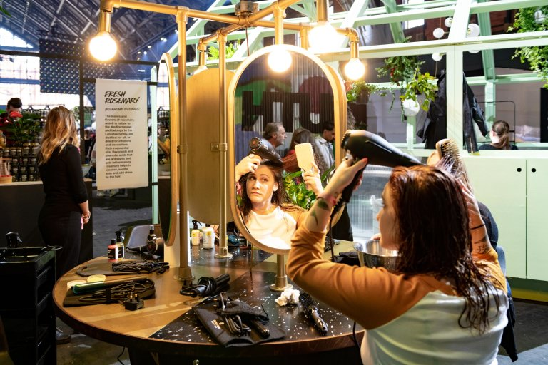 Hair styling at the Lush Showcase