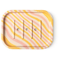 yellow and pink striped soap dish
