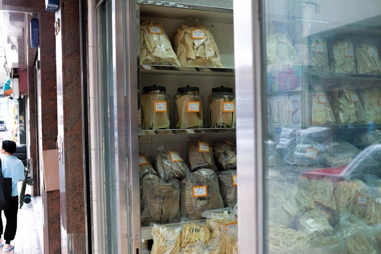Shark fin in jars