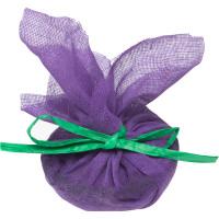 Olio da bagno di Natale Plum pudding confezionato in una garza viola con nastro verde