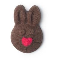 cocoa sugar scrub exfoliante corporal en forma de conejo de pascua de color chocolate con cacao
