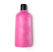 Eine feste, pinke Duschcreme in der Form einer Flasche
