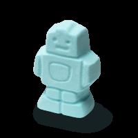 A pale blue robot shaped bath bomb
