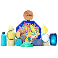 Sea Themed blue present surrounded by products on a white background