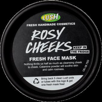 Vista dall'alto della confezione della Maschera fresca lenitiva alla rosa Rosy Cheeks