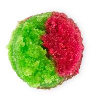 exfoliante labial de color verde y rojo con sabor a manzana verde