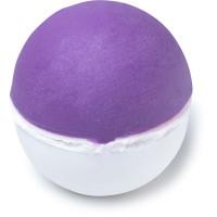 a round purple and white bath bomb