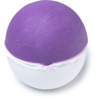 a round purple and white bath bomb