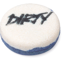 white and blue shampoo bar with the word dirty written on top
