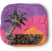 Pink yellow and purple striped bubble bar with coconut shape seaweed cut out