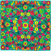 green, pink,red and yellow bird and flower themed knot wrap