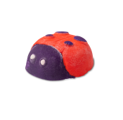 a red and purple bubble bar in the shape of a ladybird with white dots