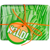 Confezione regalo con carta verde e nastro arancione