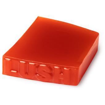A red handmade fresh soap