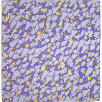 a purple knot wrap with clouds and yellow stars