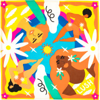 orange yellow and blue summer themed print