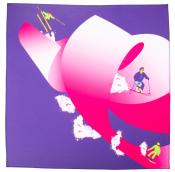 Roger and the big ski é um dos lenços de natal azul e rosa com um esquiador