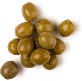 A bunch of green, oval olives