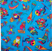 blue knot wrap with cartoon skiing elves