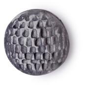 Bomba da bagno nera e grigia con superficie ondulata