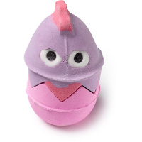A purple and pink bubbleroon in the shape of a chicken