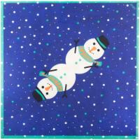 papel lokta pra envolver regalos de color azul con dibujos de muñecos de nieve