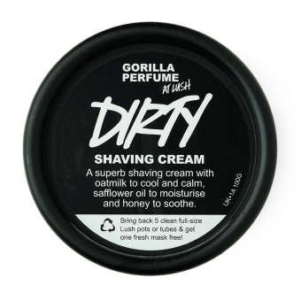 Vista dall'alto della confezione della Crema per rasatura o depilazione con avena e burri naturali Dirty