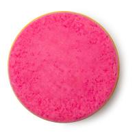 Kreisförmiges Ölbad, das zur Hälfte aus Pinker und zur Hälfte aus gelber Ölbadmischung besteht