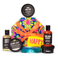 colourful and bright patterned box with products surrounding it