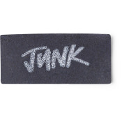A black washcard featuring the words Junk