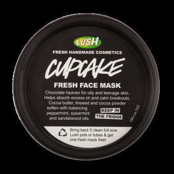 Pote preto da máscara de rosto Cupcake para guardar no frigorifico