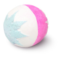 white and pink bath bomb with glittery snowflake pattern on each side