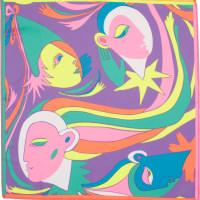 Harlequin é um dos lenços de natal roxo com caras coloridas