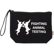Fighting Animal Testing Cosmetic Bag - Pochette astuccio in cotone biologico di colore nero con stampa bianca