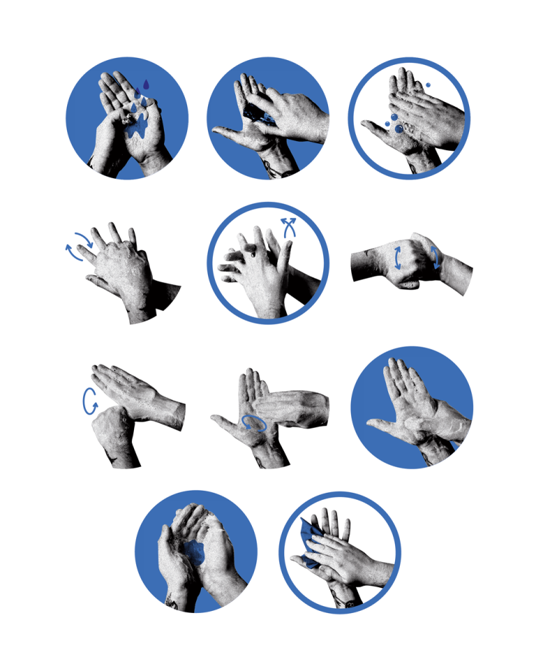 Bilder på hur man tvättar händerna