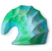 A green and blue wave shaped bubble bar