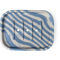 blue and green striped soap dish