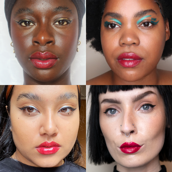 der rote ruby lippenstift auf unterschiedlichen models