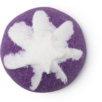 Scrub doccia solido di Natale Sugar plum fairy di colore viola con decorazione bianca