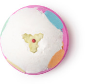 luxury lush pud é umas das bombas de banho exclusivas de natal rosa e branca com bolas coloridas