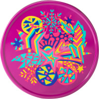 a purple round tin