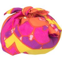 Regalo confezionato con knot wrap Psych Egg Delic viola e giallo