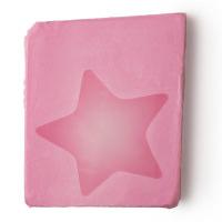 Pezzo di sapone fatto a mano di colore rosa con stella centrale