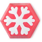 Sechseckige, pinke Seife mit weißer Schneeflocke als Deko